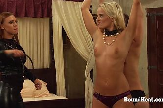 Tied Up Lesbian Slaves Whipped By Merciless Madame